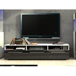 Smartshop NICEA RTV stolek 150, bílá/černý lesk