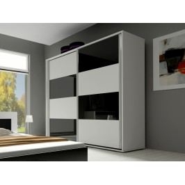 Smartshop Šatní skříň HAVANA 240, bílá/bílý + černý lesk