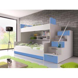 Patrová postel RAJ 2 pravá, bílá/modrý lesk