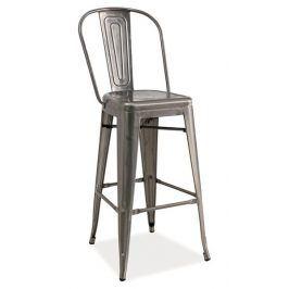 Barová kovová židle LOFT H-1, kartáčovaná ocel