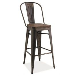 Barová kovová židle LOFT H-1, grafit/tm.ořech