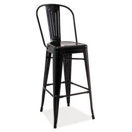 Barová kovová židle LOFT H-1, černá
