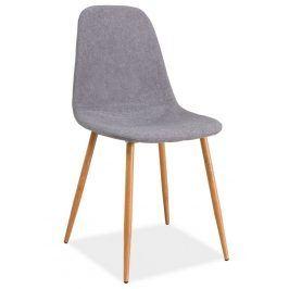 Jídelní čalouněná židle FOX, šedá/dub Židle do kuchyně