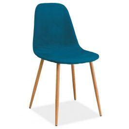 Jídelní čalouněná židle FOX, modrozelená/dub