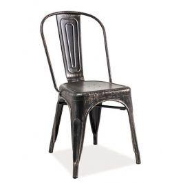 Jídelní kovová židle LOFT, černá přetíraná