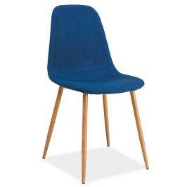 Jídelní čalouněná židle FOX, modrá/dub