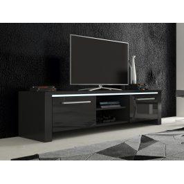 MORAVIA FLAT TV stolek HELIX 2, černá/černý lesk