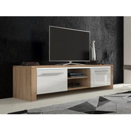 MORAVIA FLAT TV stolek HELIX 2, dub sonoma/bílý lesk Stolky pod TV