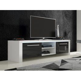 MORAVIA FLAT TV stolek HELIX 2, bílá/černý lesk