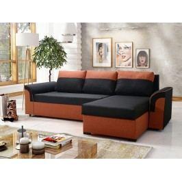 Smartshop Rohová sedačka LUKA 1, černá látka/oranžová látka
