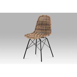 Jídelní židle SF-822 TRI, uměly ratan melír/černý kov