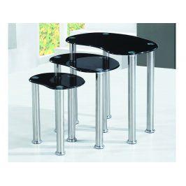 NORMAN set tří stolků, černá