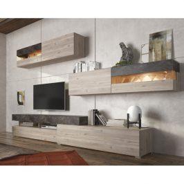 Obývací stěna IOVA dub nelson / beton Tempo Kondela Obývací stěny