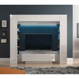 Luxusní obývací stěna MONTEREJ bílá extra vysoký lesk s LED Tempo Kondela