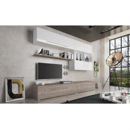 Obývací stěna SOFI dub nelson / bílá extra vysoký lesk Tempo Kondela