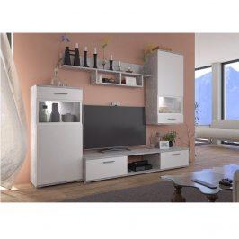 Obývací stěna BREAK bílá / beton světlý Tempo Kondela Obývací stěny
