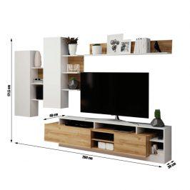 Obývací stěna ALICANTE dub grandson / bílá Tempo Kondela