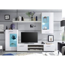 Obývací stěna HENRI NEW bílá extra vysoký lesk / bílá Tempo Kondela