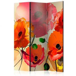 Paraván Velvet Poppies Dekorhome 135x172 cm (3-dílný)