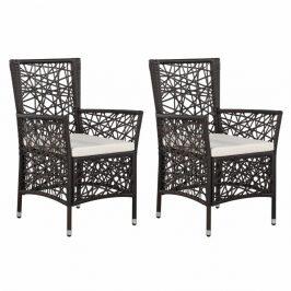 Zahradní židle 2 ks polyratan Dekorhome Hnědá