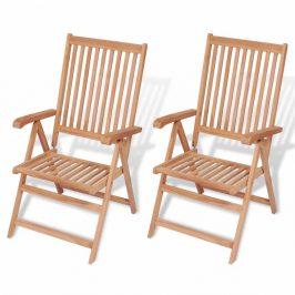 Polohovatelná zahradní židle 2 ks teak