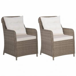 Zahradní židle 2 ks s poduškami hnědá / krémová Dekorhome