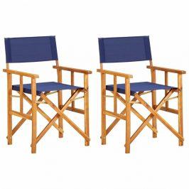 Režisérské židle 2 ks akáciové dřevo Dekorhome Modrá