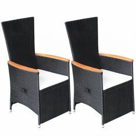 Polohovatelné zahradní židle 2 ks černá / krémová Dekorhome