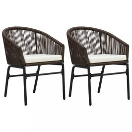 Zahradní polyratanové židle 2 ks Dekorhome Hnědá
