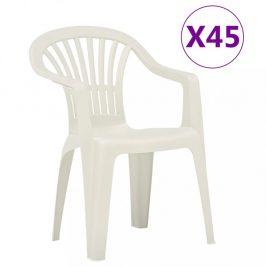 Stohovatelné zahradní židle 45 ks plast Dekorhome Bílá