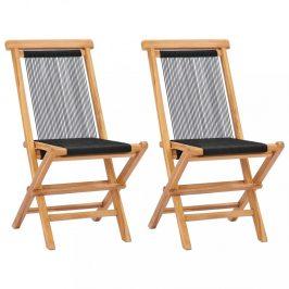 Skládací zahradní židle 2 ks teakové dřevo / provázky Dekorhome
