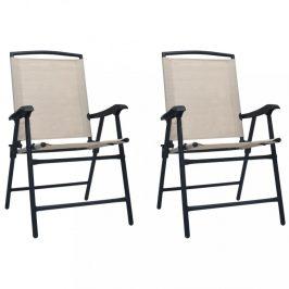 Skládací zahradní židle 2 ks Dekorhome Krémová