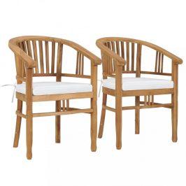 Zahradní židle s poduškami 2 ks  teakové dřevo Dekorhome Krémová