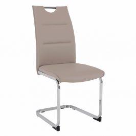 Jídelní židle TOSENA ekokůže / chrom Tempo Kondela Světle hnědá