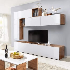 Obývací stěna MIRALDA bílá lesk HG / dub wotan Tempo Kondela