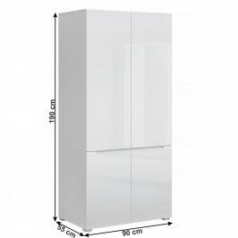 Věšáková skříň JOLK 4D bílá extra lesk Tempo Kondela