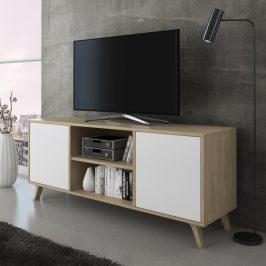 RTV stolek LAND 140 dub pucciny / bílá Tempo Kondela Obývací stěny