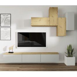Obývací stěna OTEN světle šedá / dub artisan Tempo Kondela Obývací stěny