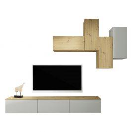 Obývací stěna OTEN světle šedá / dub artisan Tempo Kondela