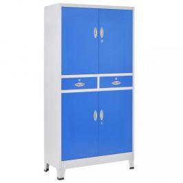 Kancelářská skříň šedá / modrá Dekorhome