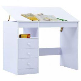 Dětský psací stůl náklopný Dekorhome Bílá