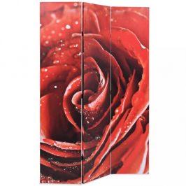 Paravan červená růže Dekorhome 120x170 cm (3-dílný)