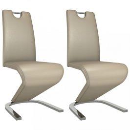 Jídelní židle 2 ks umělá kůže / chrom Dekorhome Cappuccino