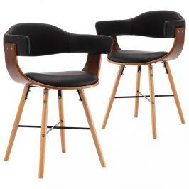Jídelní židle 2 ks ohýbané dřevo / umělá kůže Dekorhome Černá / hnědá