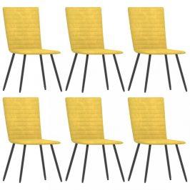 Jídelní židle 6 ks samet / kov Dekorhome Žlutá