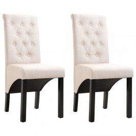 Jídelní židle 2 ks látka / dřevo Dekorhome Krémová