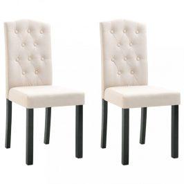 Jídelní židle 2 ks látka / kaučukovník Dekorhome Krémová