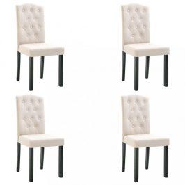 Jídelní židle 4 ks látka / kaučukovník Dekorhome Krémová