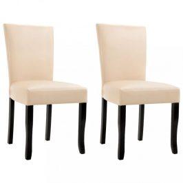 Jídelní židle 2 ks umělá kůže Dekorhome Krémová