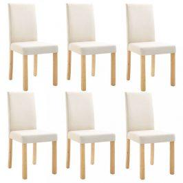 Jídelní židle 6 ks látka / dřevo Dekorhome Krémová